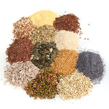 Large assortment of edible seeds Royalty Free Stock Image