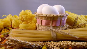 Large assortment of pasta. Arrangement of various bakery products revolves around the circle stock footage