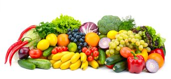 Large assortment useful vegetables and fruits isolated on white Royalty Free Stock Images