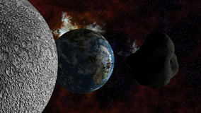 Large Asteroid approaching Earth Stock Photography