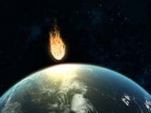 Large asteroid hiting Earth Stock Photo