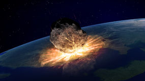 Large asteroid hitting Earth vector illustration