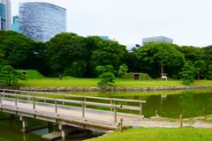 Large and attractive landscape garden, Tokyo. Japanese garden on the background of modern buildings. Large and attractive landscape garden in Tokyo. Japanese stock images