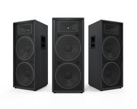 Large Audio Speakers. Isolated on white background. 3D render Stock Photos