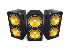 Large Audio Speakers. Isolated on white background. 3D render vector illustration