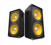 Large Audio Speakers. Isolated on white background. 3D render Stock Photo