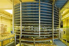 Large automated round conveyor machine in bakery food factory, cookies and cakes production line royalty free stock image
