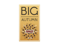 Large autumn discounts. Big sale banner with autumn leaves. Advertisement about the autumn sale. Fall sale vector design for retail advertising campaigns. Large Royalty Free Stock Image
