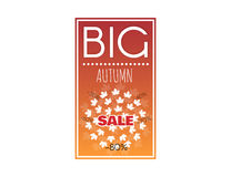 Large autumn discounts. Big sale banner with autumn leaves. Advertisement about the autumn sale. Fall sale vector design for retail advertising campaigns. Large Royalty Free Stock Photos