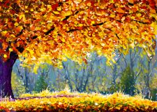 A large autumn tree, a yellow-orange tree crown, a sunny autumn meadow, an autumn landscape, a warm golden autumn. Large autumn tree original oil painting Stock Photos