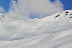 Large avalanche set by skier Royalty Free Stock Photo