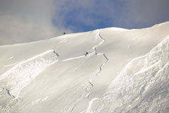 Large avalanche set by skier Royalty Free Stock Images