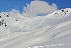 Large avalanche set by skier Royalty Free Stock Image
