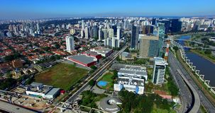 Large avenues, avenue Journalist Roberto Marinho, Sao Paulo Brazil stock video