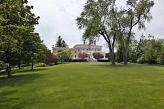 Large back yard of suburban home stock photos