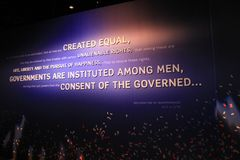 Large background with meaningful words displayed across the front, Washington, DC, 2017 Stock Photo