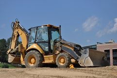 Large Backhoe on a Work Site Royalty Free Stock Images
