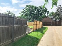 Free Large Backyard Of Corner House With Wooden Fence Replacement In Progress Suburbs Dallas, Texas, USA Royalty Free Stock Photography - 180191937