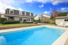 Large Backyard With Flowerbed And Swimming Pool Stock Photography