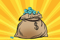 Large bag of American dollars. Pop art retro comic book vector illustration Royalty Free Stock Image