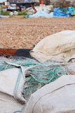 Large bags of nylon commercial fishing nets Royalty Free Stock Photography