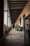 A large balcony. A big and long balcony of a typical Italian building with many flower pots manicured royalty free stock photography