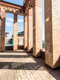 Large balcony in bricks  luxury apartments on the roof Royalty Free Stock Photography