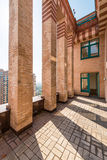 Large balcony in bricks  luxury apartments on the roof Royalty Free Stock Image