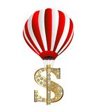 Large balloon lifts the symbol of dollar upwards Royalty Free Stock Photography