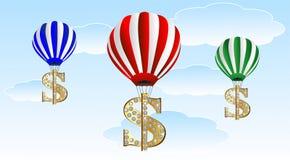 Large balloons lift the symbols of dollar upwards Stock Photography