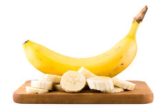 A large Banana with cut slices Royalty Free Stock Photos