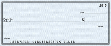 Large bank check with false numbers Royalty Free Stock Photo