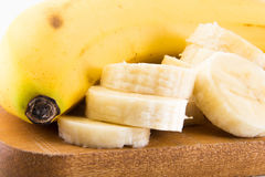 A large Bannana with cut slices Royalty Free Stock Image