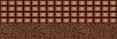 Chocolate pieces coffee beans background Royalty Free Stock Images