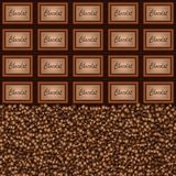 Chocolate pieces coffee beans background Stock Images