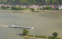 Large barge floated down the Rhine Royalty Free Stock Image
