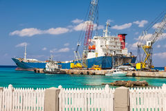 Large Barge in Grand Cayman Royalty Free Stock Image