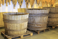 Large barrel. In chinese traditional brewing factory stock illustration