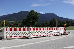 Large barrier on a street. In bavaria Stock Photos