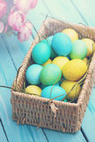 Large basket of eggs, tinted Royalty Free Stock Photos