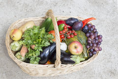 Large basket full of fruit and vegetables Stock Photo