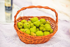 large basket with pears Stock Photography