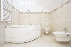 Large bath in luxurious bathroom Royalty Free Stock Images