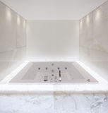 Large bath tub in the bathroom lit marble, nobody Stock Image