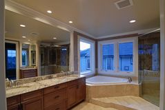 Large Bathroom. Master Bathroom of a New large American house Stock Photo