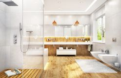 Large bathroom with shower and two sinks royalty free stock photos