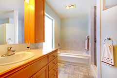 Large bathroom with double sinks . Royalty Free Stock Photography