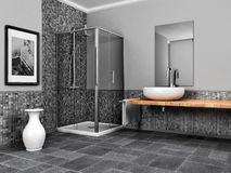 Large bathroom. With stone and mosaic grey tone Stock Images