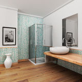 Large bathroom. With wood floor and vintage mosaic light blue and green Stock Photo