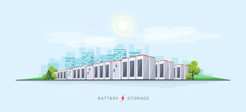 Large Battery Storage System. Vector illustration of large rechargeable lithium-ion battery energy storage stationary for renewable electric power stations stock illustration
